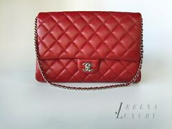 Auth Chanel 14C RED CAVIAR Classic Flap Bag *Clutch With Chain*  Silver HW