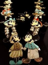 Vintage Zuni Disney Sterling Silver Inlay Squash Blossom And Mickey Earring Set
