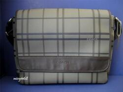 NWT Coach Men Tattersall Messenger  Crossbody Bag 70750 Multi SilverGrey Multi