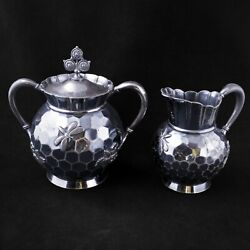 Aesthetic Movement Victorian Silver Plate Sugar And Creamer Set Beehive Rogers
