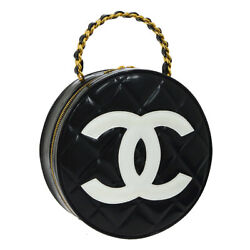 Auth CHANEL Quilted CC Chain Vanity Round Hand Bag Black Patent Leather BA01787