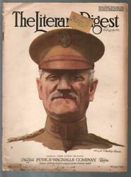 Literary Digest 8/10/1918-wwi Cover-gen Pershing-j.c. Chase-pulp Thrills-g/vg