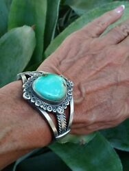 Native American Navajo Signed Natural Royston Turquoise Silver Sterling Cuff