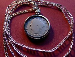 Antique Early Barber Liberty Victory Nickel On A 26 925 Sterling Silver Chain