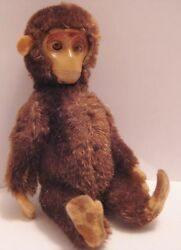 Old Schuco Yes No Miniature German Jointed Mohair Toy Monkey W/ Mechanical Tail