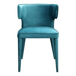 20 W Set Of 2 Dining Chair Curved Back Bright Teal Velvet Metal Contemporary