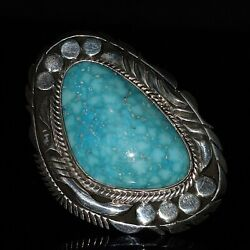 Size 9 Navajo Signed Natural Kingman Turquoise Sterling Silver Ring Elouise Kee
