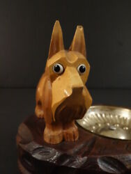 ANTIQUE BLACK FOREST ASHTRAY SCOTTISH TERRIER CARVED WOOD DOG with GLASS EYES