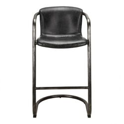 21 W Set Of 2 Bar Stool Antique Black Top Grain Leather Industrial Iron Frame