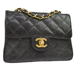 Auth CHANEL Quilted CC Single Chain Shoulder Bag Black Lizard Leather AK21648