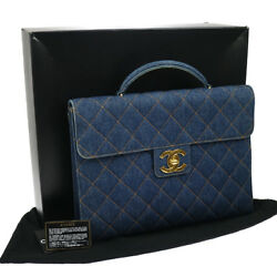 Authentic CHANEL Quilted Briefcase Business Hand Bag Denim Vintage GOOD BA01678a