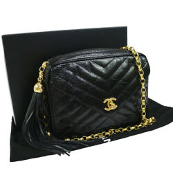 Authentic CHANEL V Stitches Quilted Chain Shoulder Bag Black Lizard Skin N00745
