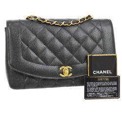 Auth CHANEL Quilted CC Chain Single Shoulder Bag BK Caviar Skin Leather AK20834
