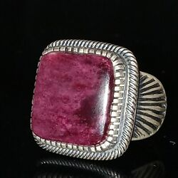 Men's Size 11 Navajo Signed Sterling Silver and Sugilite Ring Kirk Smith (d)