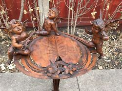 19th C. Italian Carved Fantasy Style Putti PedestalTable W Lilly Pad Form Top