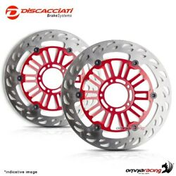 Pair Of Front Floating Discs Discacciati Light 310 Red Kawasaki Zx6r 636 2013
