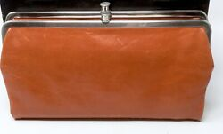 HOBO INTERNATIONAL Leather Lauren Clutch Wallet Double Framed Orange