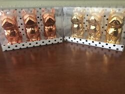 Set of 6 French Bulldog Frenchie Gold And Copper Christmas Ornaments NIB