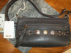 NOOSA AMSTERDAM CLASSIC CITY BAG. ANTIQUE BLACK WITH FIVE CHUNKS