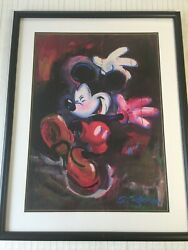 Disney Eric Robison Mickey Mouse Dancing In The Rain Lithograph Print, Framed