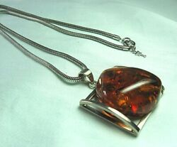 925 Sterling Silver And Amber Pendant On Silverplate Crown Trifari Chain