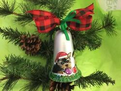 YORKIE PUPPIES HAND PAINTED BELL CHRISTMAS ORNAMENT SUPER!