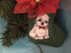 SHIH TZU PUPPY HAND PAINTED STOCKING CHRISTMAS ORNAMENT