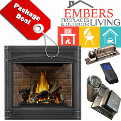 NAPOLEON GX70 ASCENT GAS FIREPLACE DIRECT VENT KIT WROUGHT IRON RED BRICK BLOWER