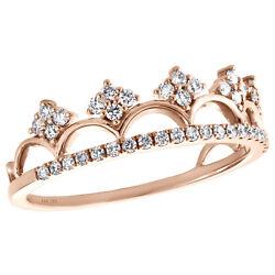 14k Rose Gold Round Diamond Queen's Crown Majesty Women's Cocktail Ring 0.37 Ct.