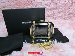 209Auth RARE CHANEL Gold Premiere Watch Minaudiere Evening Bag Clutch Plexiglass