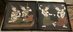 Set Of Two Indian Paintings On Cloth Framed Antique India Art Mint
