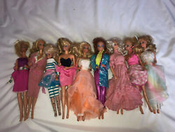 Vintage 1960's Lot 9 Assorted Clothed Barbie Dolls Party Dresses Outfits Mixed