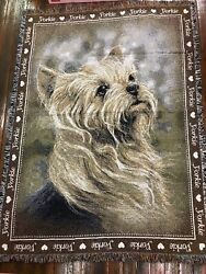 I Love Yorkie Dog Yorkshire Terrier Cotton Jacquard Woven Throw Blanket NEW