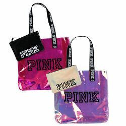 Victoria's Secret Pink Tote Bag Set Chrome Pouch Travel Expandable Shopper Nwt