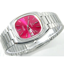 Vintage Omega Seamaster T Automatic Day Date Sr Red Wine Custom Dial Mens Watch