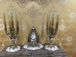Vintage Ornate Gold Metal Uranio Metal Clock And 2 Candle Holders Made In Italy