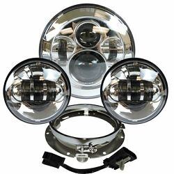 7 Chrome Led Projector Daymaker Headlight + Passing Lights For Harley Touring C