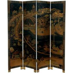4 Panel Room Divider Screen Partition Privacy Ching Ming Festival 6 Ft Black New