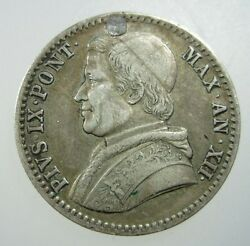 Italy Papal State 20 Baiocco 1858 B Silver Plug Hole Vatican Pope Italian Coin