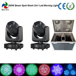 2pcs 200W Spot Beam Wash 3in1 Led Moving Head Light +fly case from US Stock