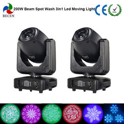 2pcs 200W Led Moving Head Light 3in1 wash beam light for Stage Party Wedding US
