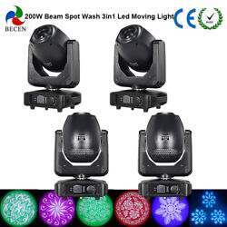 4pcs 200w 3in1led Moving Head Light Wash Beam Light For Stage Party Light In Us