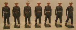 7 Antique Metal Toy Soldiers Military Police 2 1/4 Britains Moving Arms 1930s