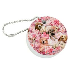 Puppies Dogs Pink Flowers Pattern Round Floating Foam Boat Keychain