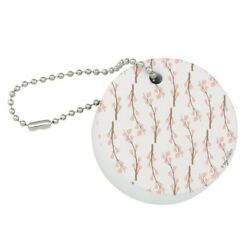 Cherry Blossoms Flowers Pattern Round Floating Foam Boat Keychain