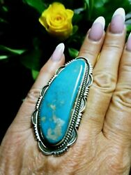 Native American Navajo Royston Turquoise Sterling Silver Size 10.5 Signed Ring