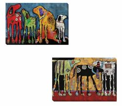 Best Friends And Looking For Trouble By Foster 2pc Canvas Giclee Set 16 In X 24 In