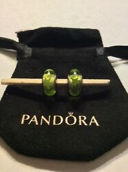 Authentic Pandora Sterling Murano Glass - Green Stars Charms Retired Set Of 2
