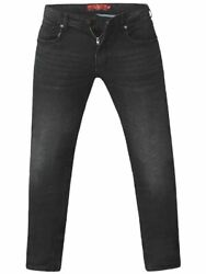 D555 Mens Big Size Tapered Fit Stretch Jeans In Grey Stonewash Benson
