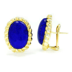 Vintage Lapis Lazuli Oval Ribbed Earrings 14K Yellow Gold 18.50ctw French Clips